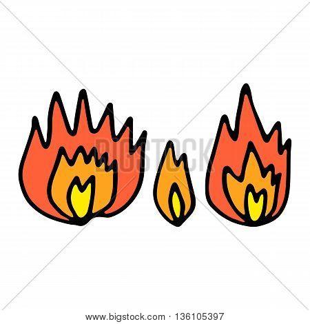Set of doodle colored bonfire illustration vector