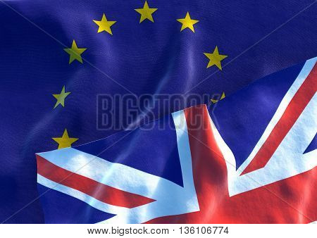 Flags of the United Kingdom and the European Union. UK Flag and EU Flag. 3D render