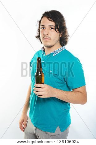 Man Hold Beer Bottle