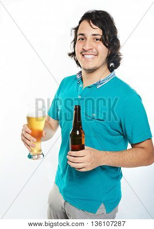 Happy Young Man With Beer