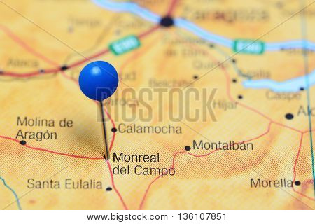 Monreal del Campo pinned on a map of Spain