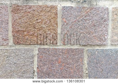 Color square stone wall with cement joint