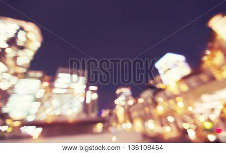 Defocused City Background Scene At Night