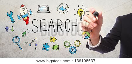 Businessman Drawing Search Concept