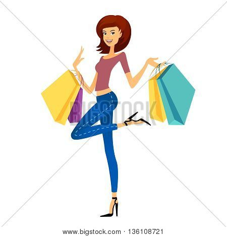 Fashion shopping girl. Beautiful woman with shopping bags. Shopper on white background