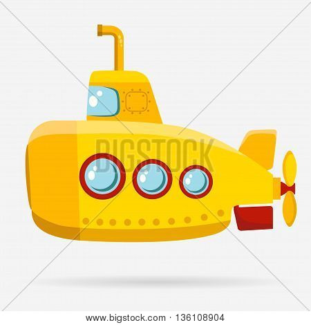 Yellow Submarine with periscope, bathyscaphe cartoon, underwater ship Flat design. Vector