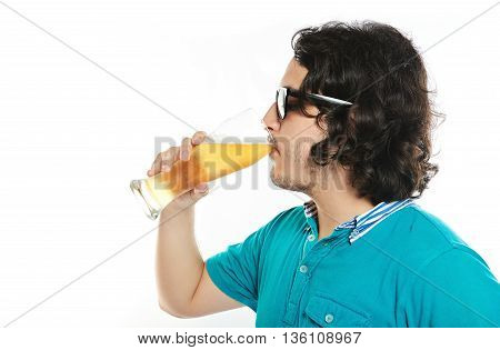 Young Hispanic Man Drink Beer