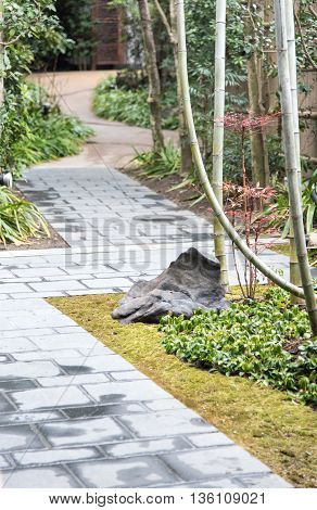 natural stone step pavement walkway in japanese garden style