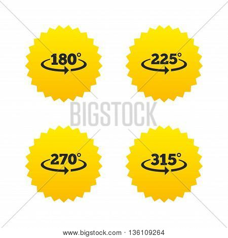 Angle 180-315 degrees icons. Geometry math signs symbols. Full complete rotation arrow. Yellow stars labels with flat icons. Vector