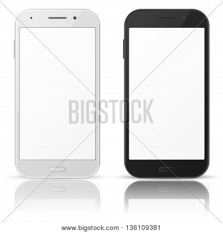 Black and white mobile phones with blank screen on white background
