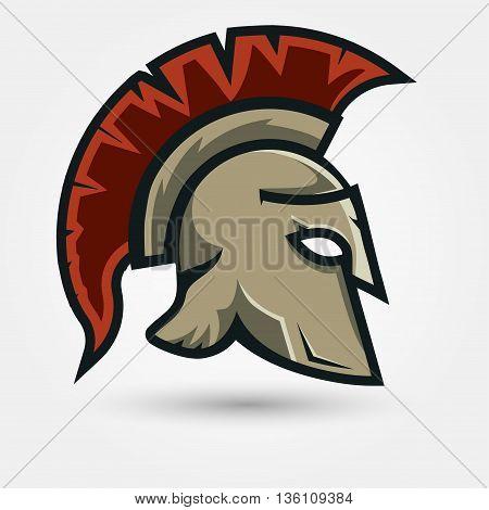 Spartan Helmet silhouette, Greek warrior - Gladiator, legionnaire heroic soldier.