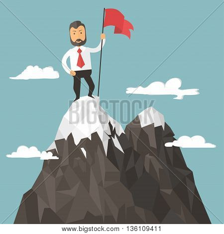 Businessman with flag on a Mountain peak, success and mission, target and victory, motivation, winner on top