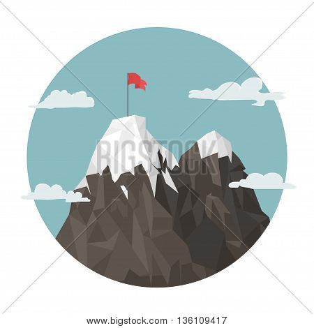 Red Flag on a Mountain peak, success and mission, target and victory, motivation, winner on top.