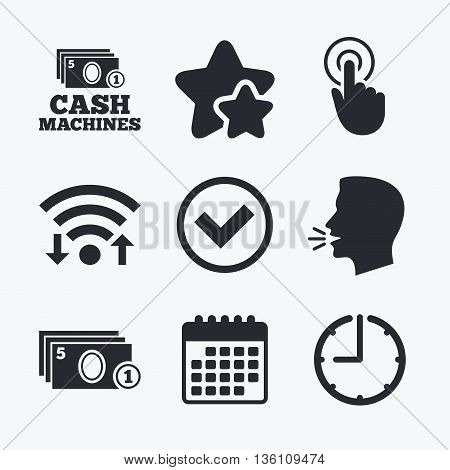 ATM cash machine withdrawal icons. Click here, check PIN number, processing and cash withdrawal symbols. Wifi internet, favorite stars, calendar and clock. Talking head. Vector
