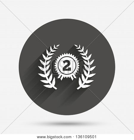 Second place award sign icon. Prize for winner symbol. Laurel Wreath. Circle flat button with shadow. Vector