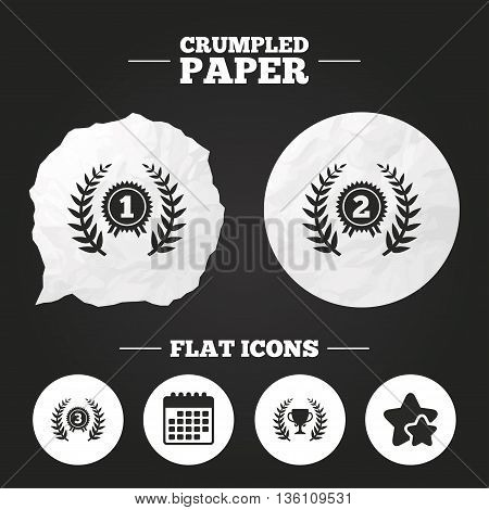 Crumpled paper speech bubble. Laurel wreath award icons. Prize cup for winner signs. First, second and third place medals symbols. Paper button. Vector