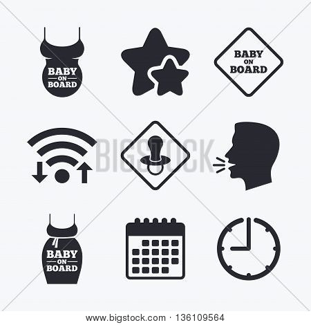 Baby on board icons. Infant caution signs. Child pacifier nipple. Pregnant woman dress with big belly. Wifi internet, favorite stars, calendar and clock. Talking head. Vector