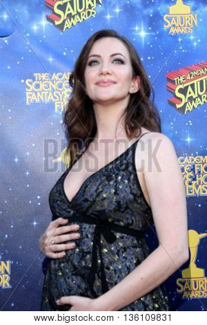 Kate Siegel arrives at the 42nd Annual Saturn Awards on Wednesday, June 22, 2016 at the Castaway Restaurant in Burbank, CA.