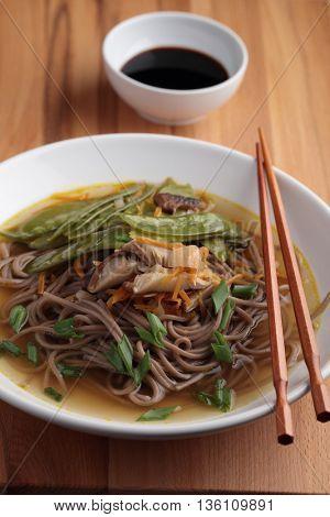 Japanese shiitake, soba, and green bean soup