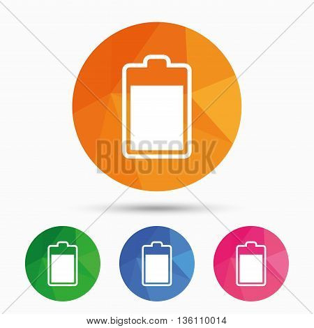 Battery level sign icon. Electricity symbol. Triangular low poly button with flat icon. Vector