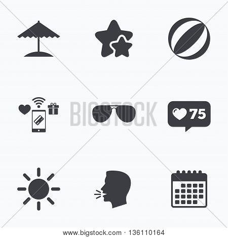 Beach holidays icons. Ball, umbrella and sunglasses signs. Summer sun symbol. Flat talking head, calendar icons. Stars, like counter icons. Vector