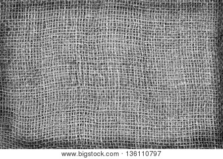 Burlap Background. Natural textured canvas, black and white tone.