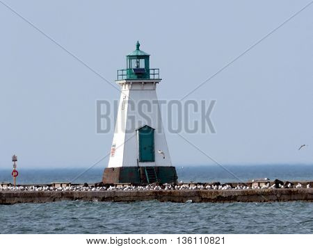 Historic lighthouse in Port Dalhousie on shore of Lake Ontario 26 June 21016 Canada