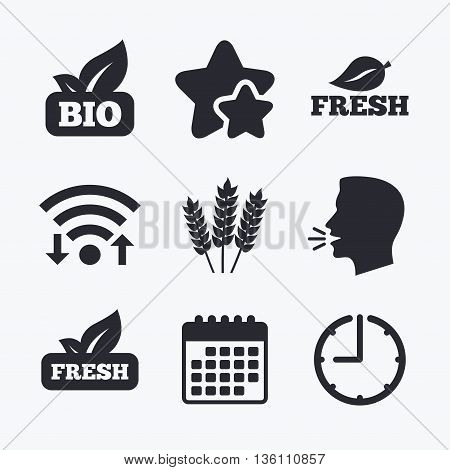 Natural fresh Bio food icons. Gluten free agricultural sign symbol. Wifi internet, favorite stars, calendar and clock. Talking head. Vector