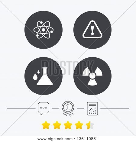 Attention and radiation icons. Chemistry flask sign. Atom symbol. Chat, award medal and report linear icons. Star vote ranking. Vector