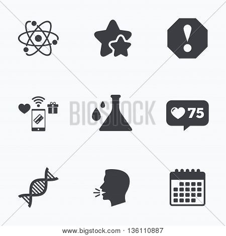 Attention and DNA icons. Chemistry flask sign. Atom symbol. Flat talking head, calendar icons. Stars, like counter icons. Vector