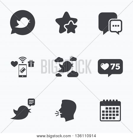 Birds icons. Social media speech bubble. Short messages chat symbol. Flat talking head, calendar icons. Stars, like counter icons. Vector