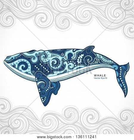 Vector wild Whale with tribal and ethnic ornaments