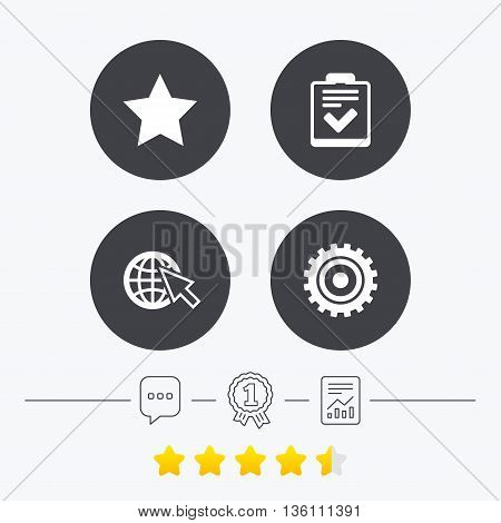 Star favorite and globe with mouse cursor icons. Checklist and cogwheel gear sign symbols. Chat, award medal and report linear icons. Star vote ranking. Vector