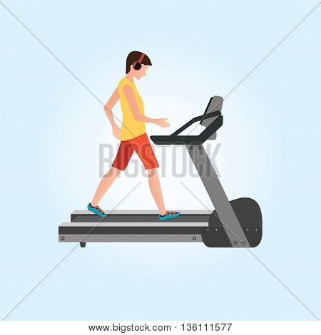 Young adult man running on treadmill sport fitness athletics healthy lifestyle. Cartoon character Vector illustration.
