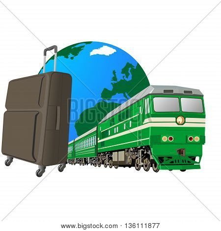 Abstract image of traveling on the railways. The illustration on a white background.