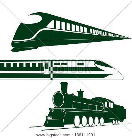 Ancient and modern rail transport. The illustration on a white background.