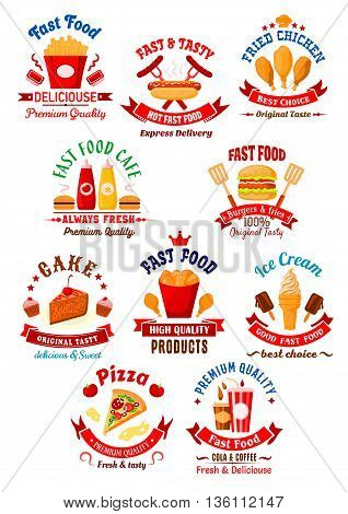 Fast food hamburgers, hot dog and french fries, pizza and fried chicken, soda and coffee drinks, cake, ice cream and cupcakes bright cartoon icons for restaurant and bakery shop design with ribbon banners, stars and chef hat decorations