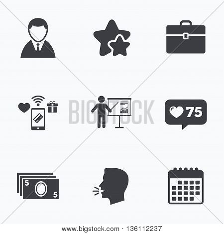 Businessman icons. Human silhouette and cash money signs. Case and presentation with chart symbols. Flat talking head, calendar icons. Stars, like counter icons. Vector