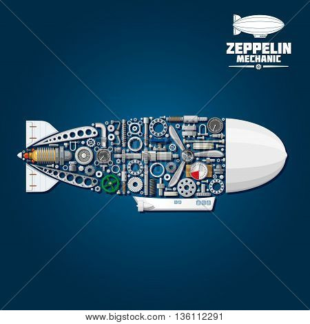 Mechanical silhouette of zeppelin airship symbol with modern gondola, rudder and envelope composed of propeller and turbine, gear wheels and bearings, pressure hoses and gauges, pilot control wheel, valve handwheels and fasteners