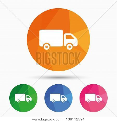 Delivery truck sign icon. Cargo van symbol. Triangular low poly button with flat icon. Vector