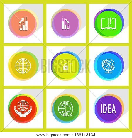 9 images: protection world, globe and phone, idea, globe, bank, diagram, graph degress, book. Business set. Internet template. Vector icons.