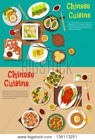 Healthy dinners of chinese cuisine flat icon with traditional peking duck and teriyaki shrimps, grilled and steamed fish with vegetables, noodles and rice topped with eggs and tofu, dumplings and spring rolls, blanched bok choy with vinegar and sesame bre