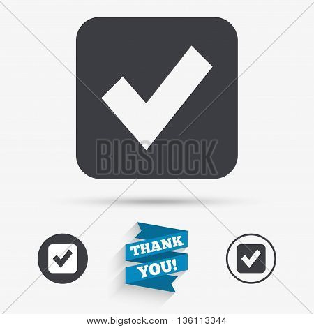 Check mark sign icon. Checkbox button. Flat icons. Buttons with icons. Thank you ribbon. Vector