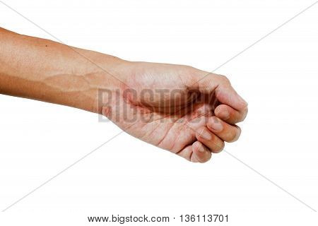 Hand and palm of asia color skin on the white background ,Body part on the white background