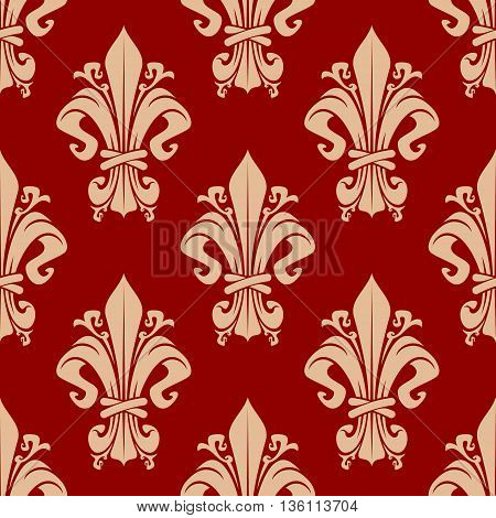 Seamless vintage fleur-de-lis pattern of beige florid victorian ornaments with decorative leaves and tendrils on red background. May be use as upholstery textile or wallpaper design