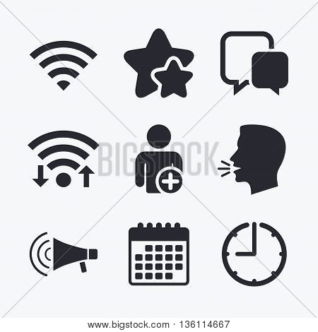 Wifi and chat bubbles icons. Add user and megaphone loudspeaker symbols. Communication signs. Wifi internet, favorite stars, calendar and clock. Talking head. Vector