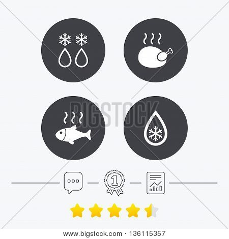 Defrosting drop and snowflake icons. Hot fish and chicken signs. From ice to water symbol. Chat, award medal and report linear icons. Star vote ranking. Vector