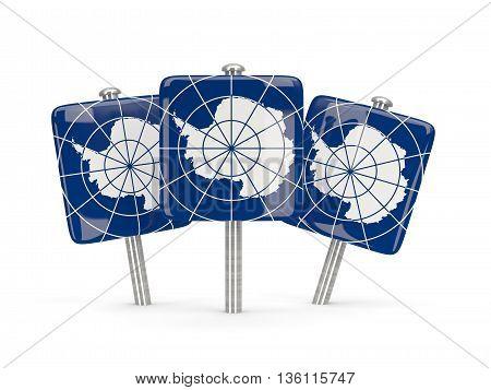 Flag Of Antarctica, Three Square Pins