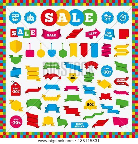 Banners, sale stickers and sale labels. Strike icon. Storm bad weather and group of people signs. Delayed flight symbol. Sale price tags. Vector