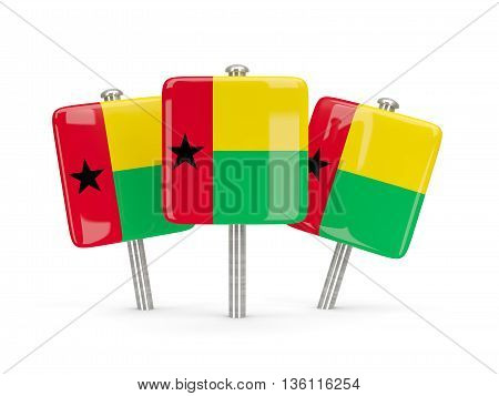 Flag Of Guinea Bissau, Three Square Pins